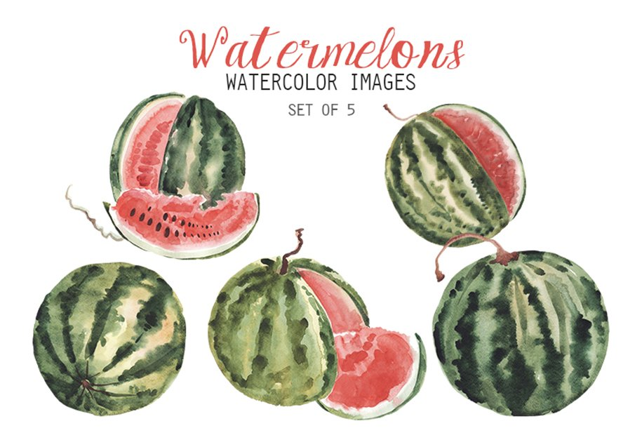 Watercolor Watermelons Clipart.