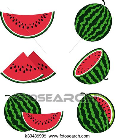 Watermelons and watermelon slices flat cartoon vector set Clipart.