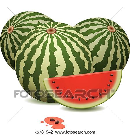 Watermelons and a slice Clipart.