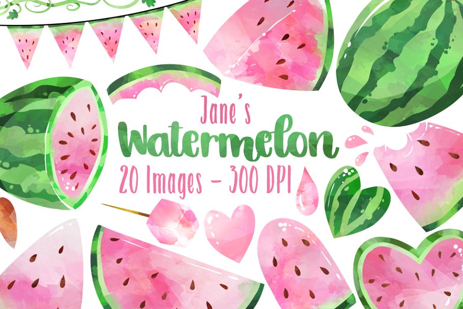 Watercolor Pink Watermelons Clipart.