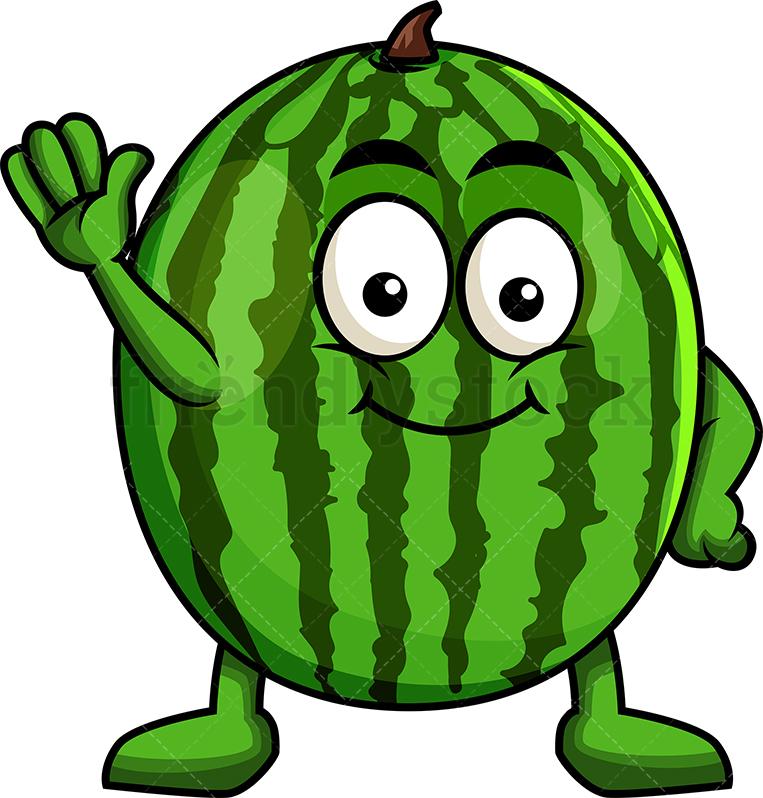 Cute Watermelon Mascot Waving.