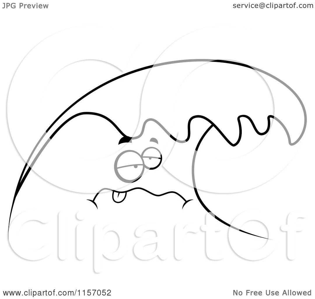 Cartoon Clipart Of A Black And White Sea Sick Wave.
