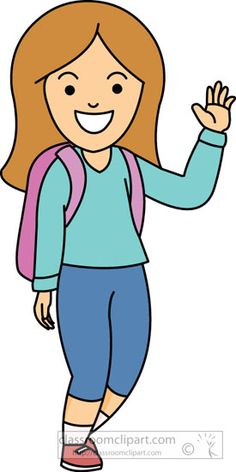 Girl with backback waving clipart » Clipart Station.