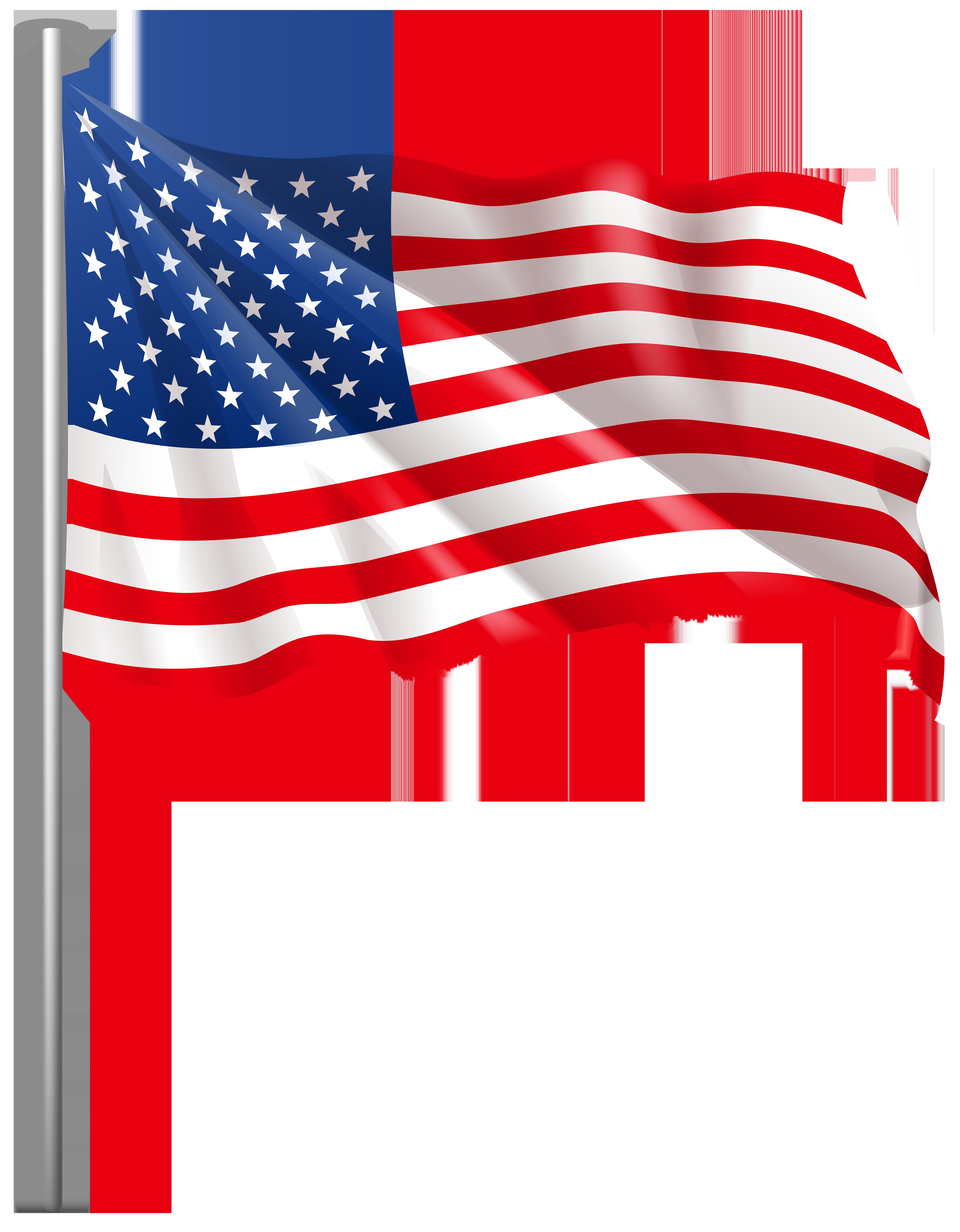 USA Waving Flag PNG Clip Art Image.