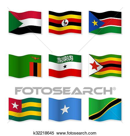 Waving flags of different countries Clipart.