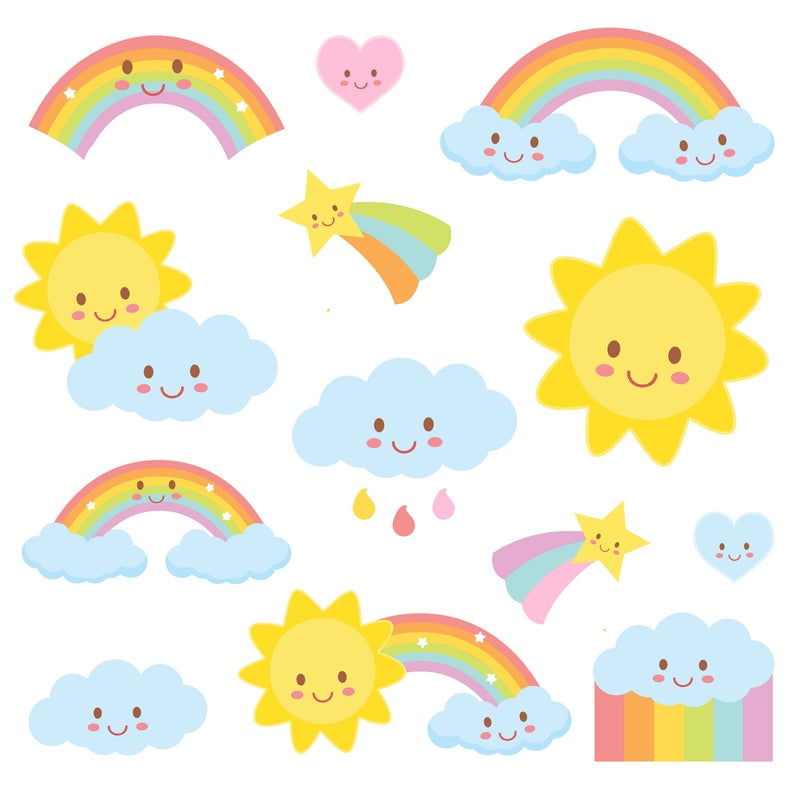 Weather Clipart, Rainbow clipart, Weather Party, COMMERCIAL USE, Weather  Clip Art, Kawaii Clipart, Planner Accessories, rain, rainbow, cloud.
