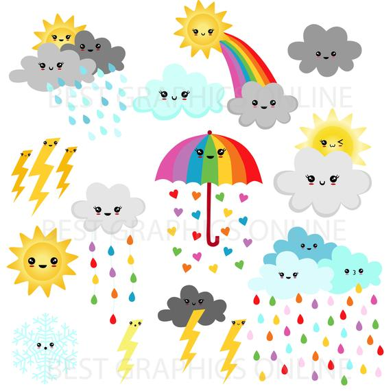 Weather Clipart, Rainbow clipart, Weather Party, COMMERCIAL USE.
