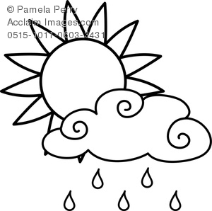 Clip Art Image of a Sun With a Rain Cloud Weather Coloring Page.