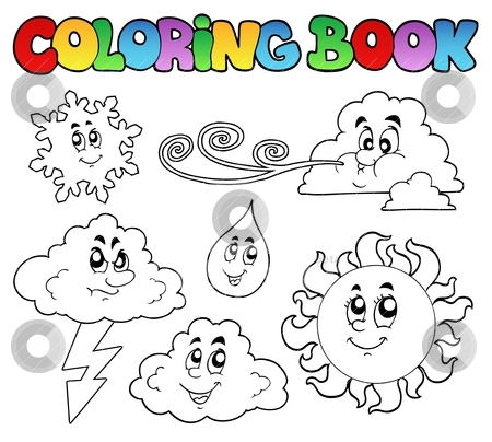 Coloring book with weather images stock vector.