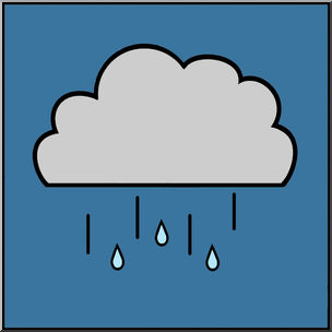 Clip Art: Weather Icons: Drizzle Color Unlabeled.