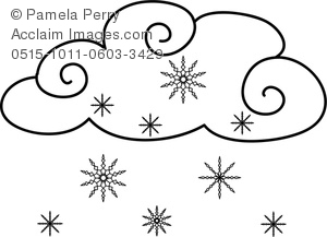 Clip Art Image of Snowflakes Falling From a Cloud Weather Coloring.