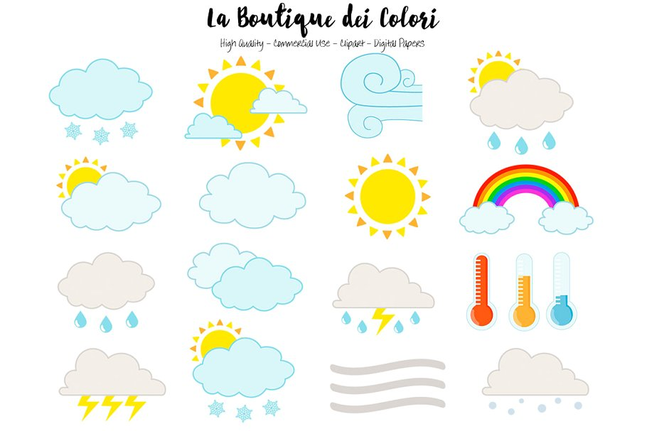 Cute Weather Icons Clipart.