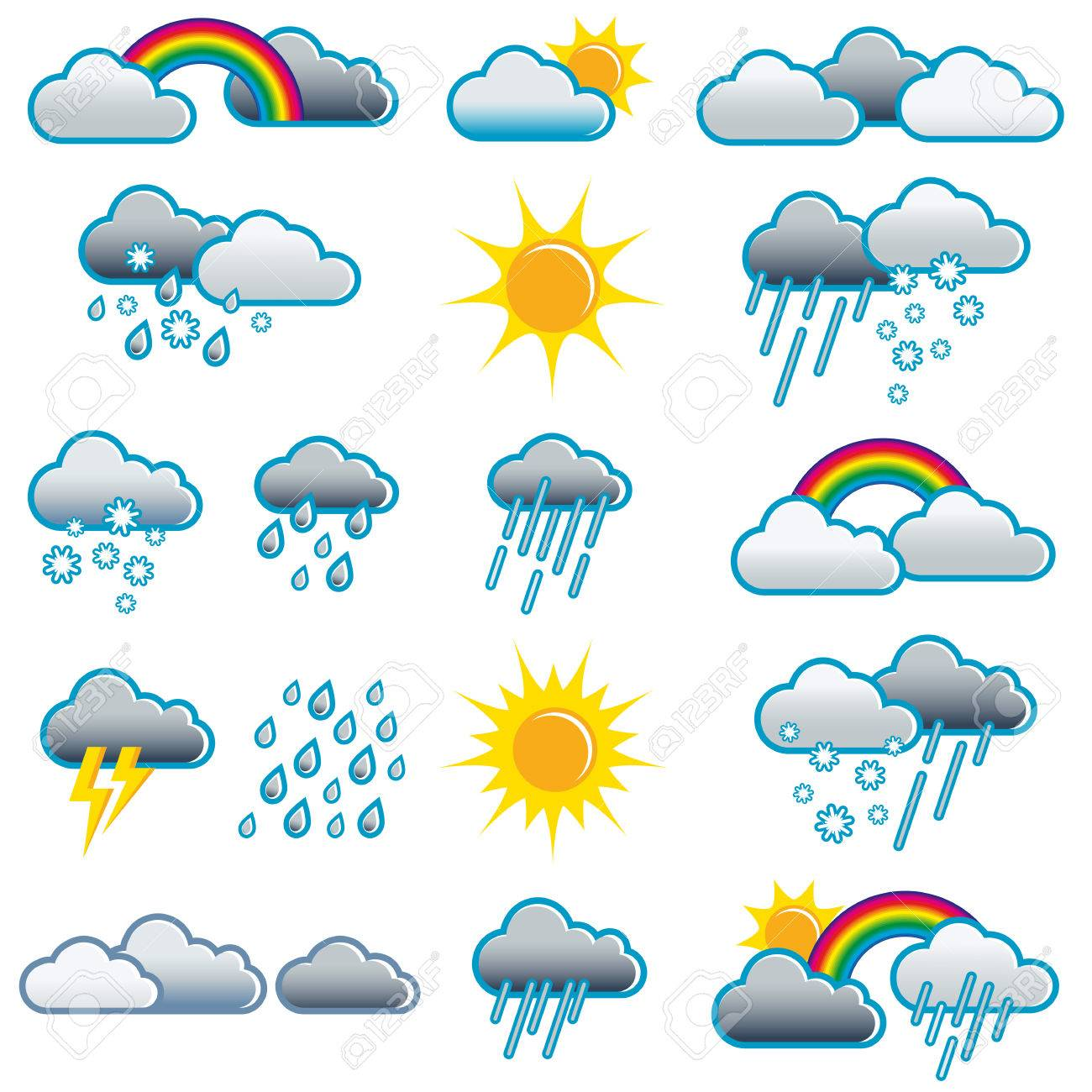 Weather icons of different weather situations; Weather symbols...