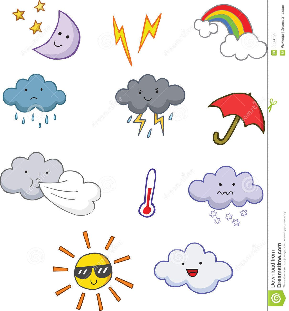 Fun Cute Cartoon Weather Symbols.