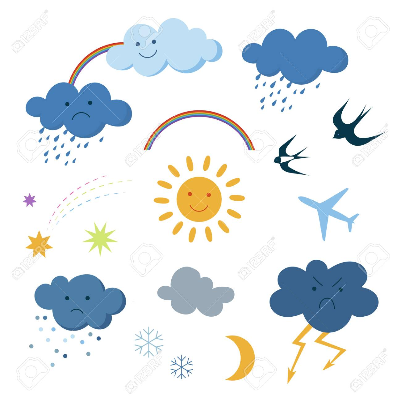 Cute cartoon sky objects weather symbols set clipart.