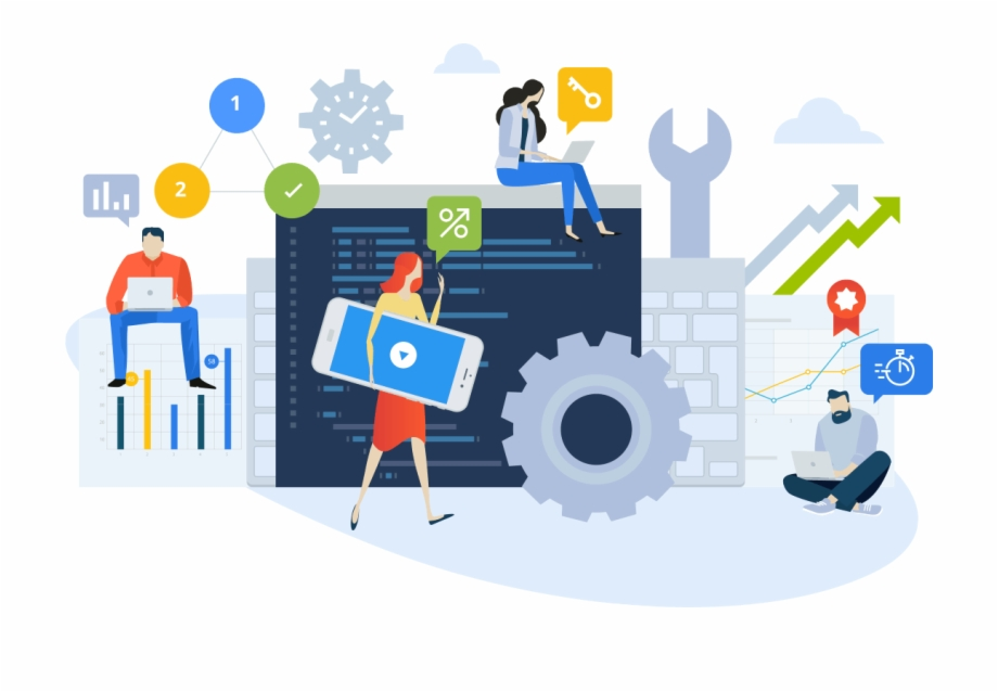 Php Web Development Programming Web Design Illustration Set.
