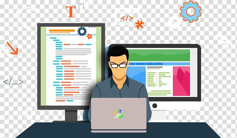 Man using laptop illustration, Web development Web Developer.