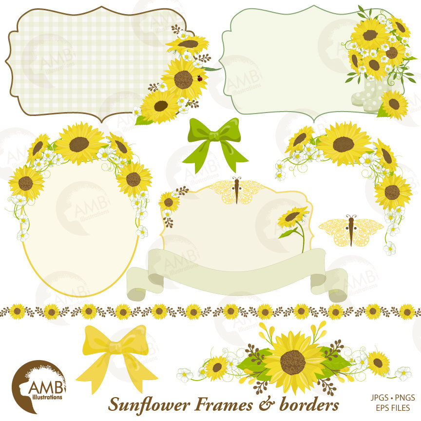 Sunflower frames clipart, Wedding frames clipart, shabby chic, sunflowers,  AMB.