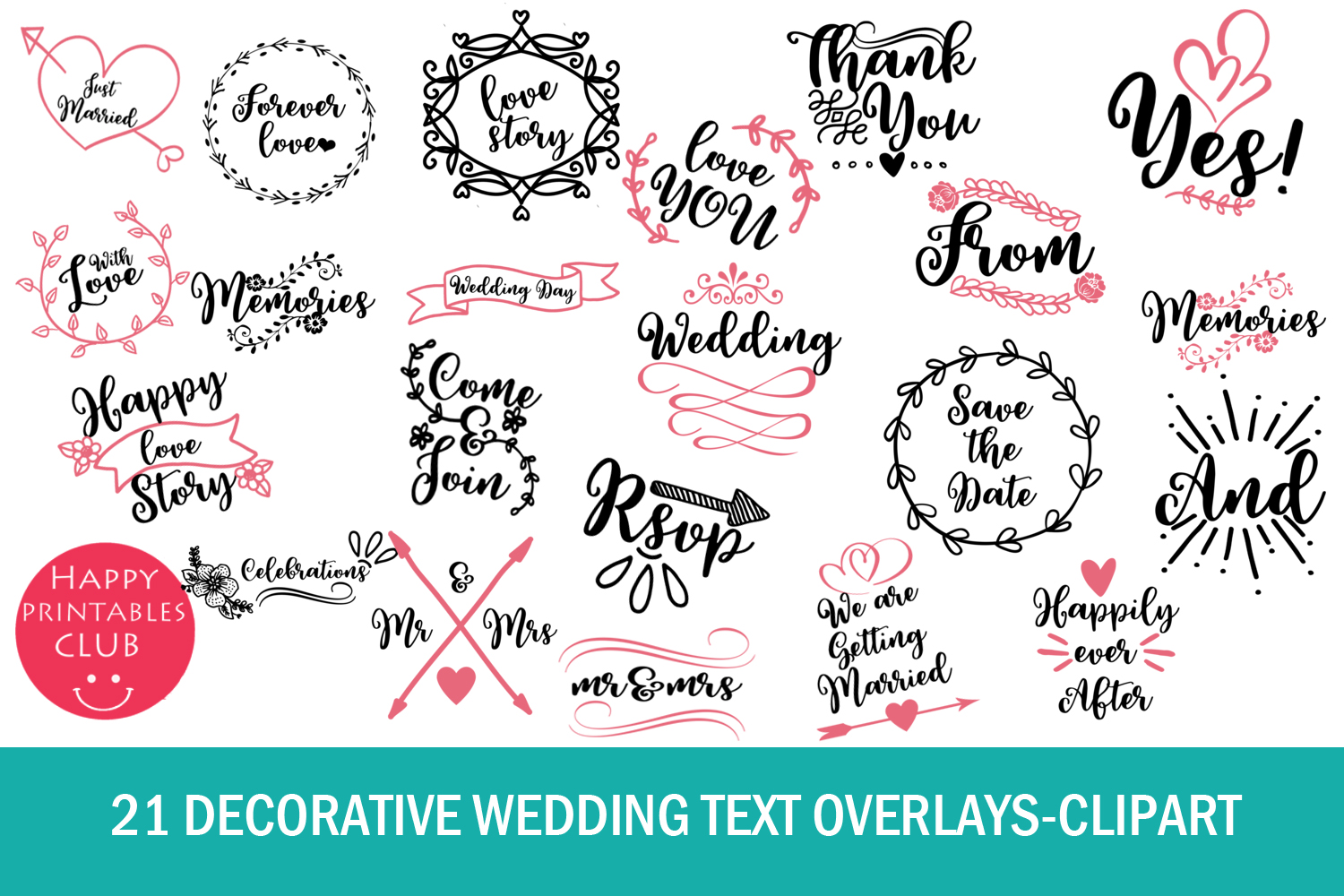 21 Decorative Wedding Text Overlays.