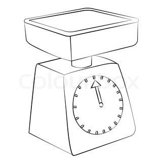 Black outline vector weighing machine on white background..