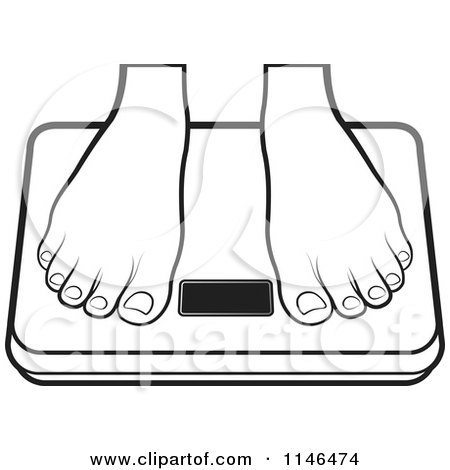 Clipart of a Pair of Outlined Feet.