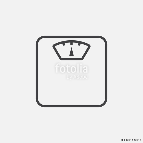 Weight scale line icon, outline vector logo illustration, linear.