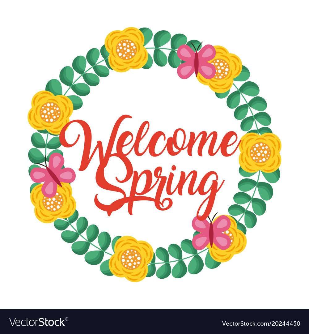 Floral wreath decorative welcome spring.