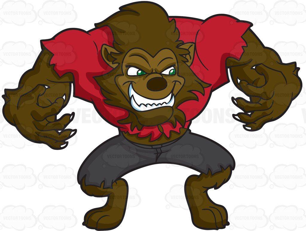 A werewolf with big muscles #cartoon #clipart #vector.