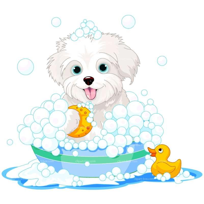 CLIPART DOG IN BATH.