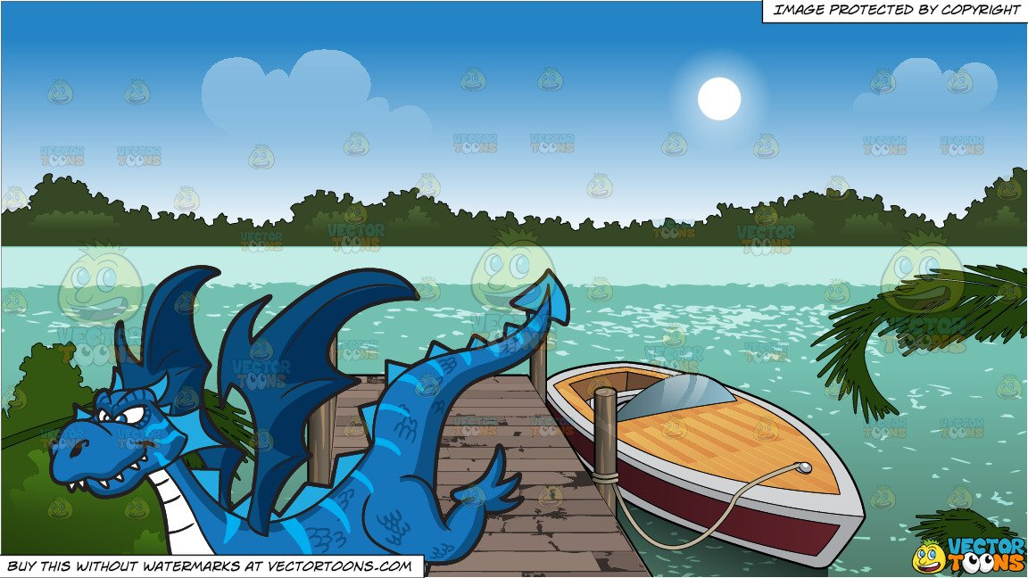 A Cool Looking Dragon and A Boat Tied Up To A Dock Background.