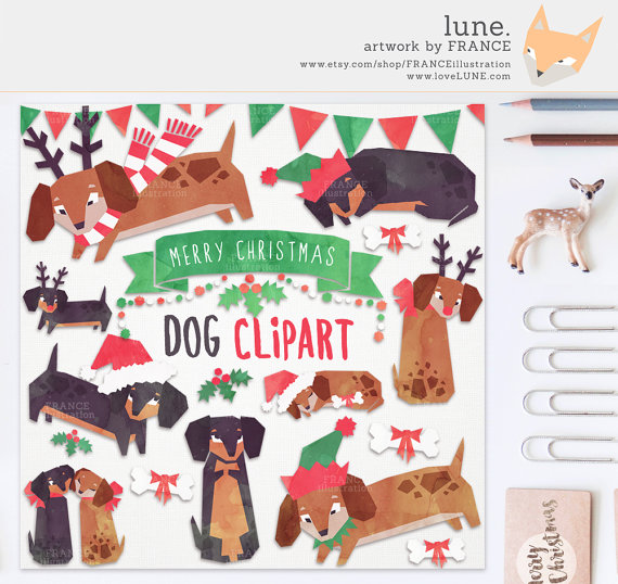 GET 3 FOR 2. Christmas Clip Art. Watercolor Dachshund Dog Clipart.