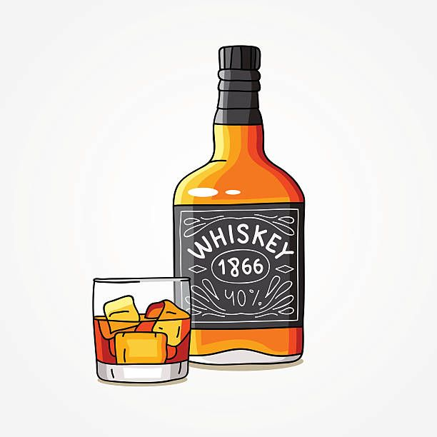 Bottle of whiskey and a glass vector art illustration in.