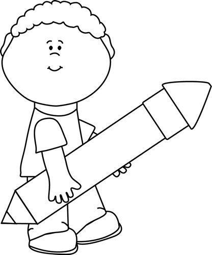 Boy Drawing Clipart Black And White.