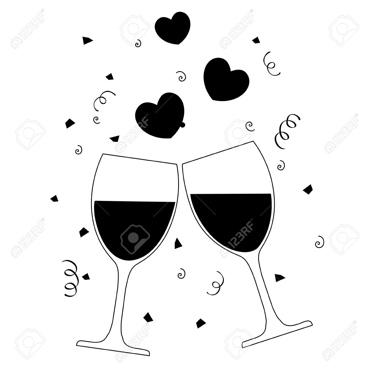 Silhouette Of Two Wine Glasses With Hearts And Confetti Background.