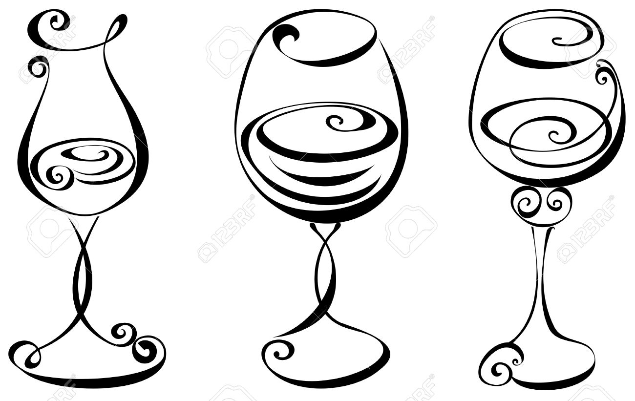 Stylized Black And White Wine Glass Royalty Free Cliparts, Vectors.