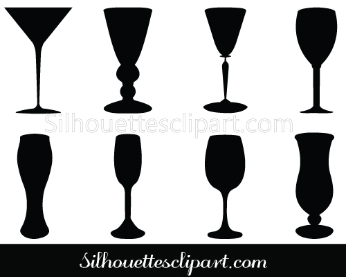 Wine Glass Silhouette Vector Beverage Glasses.