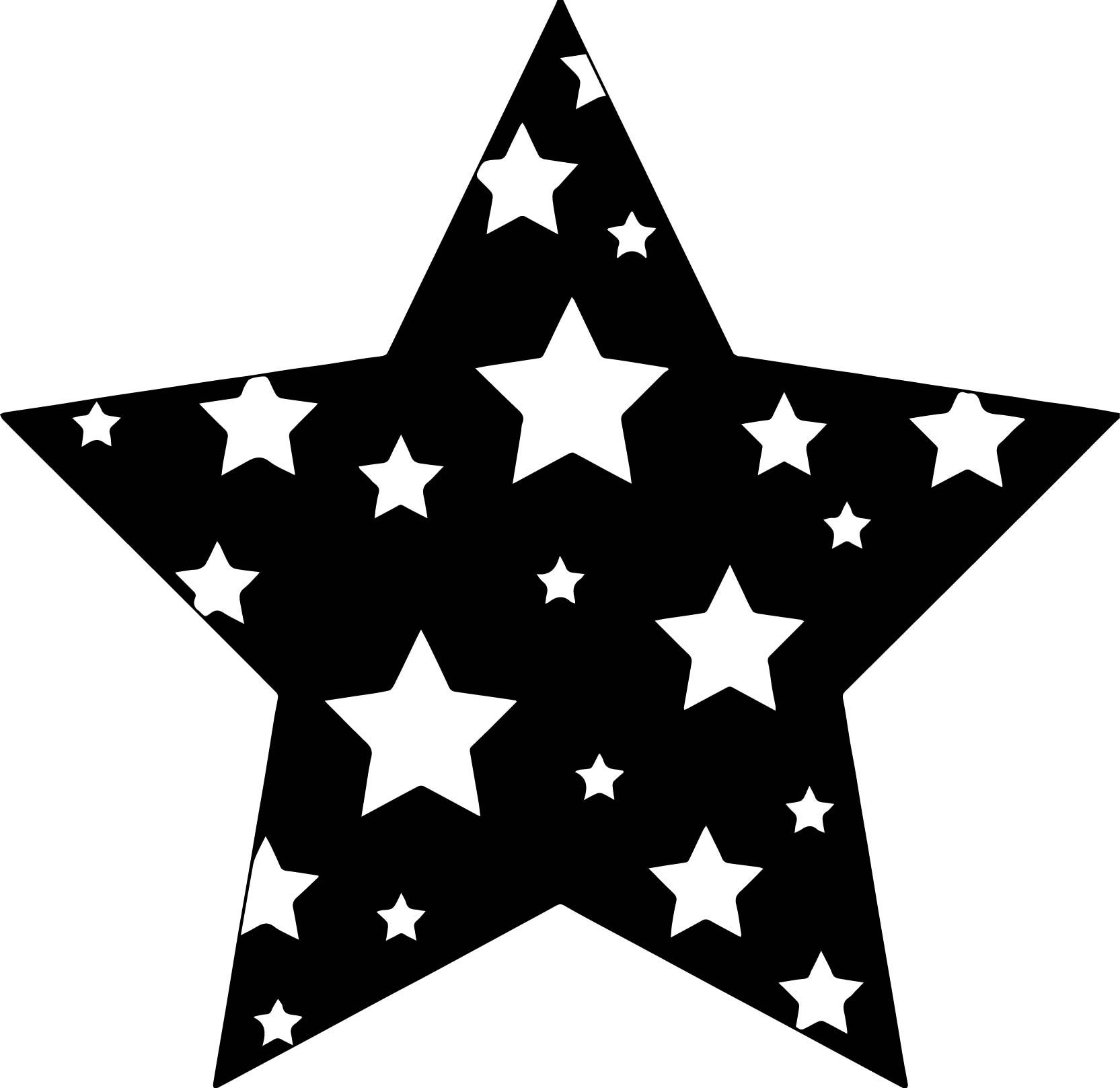 Black Background Stars Coloring Page.
