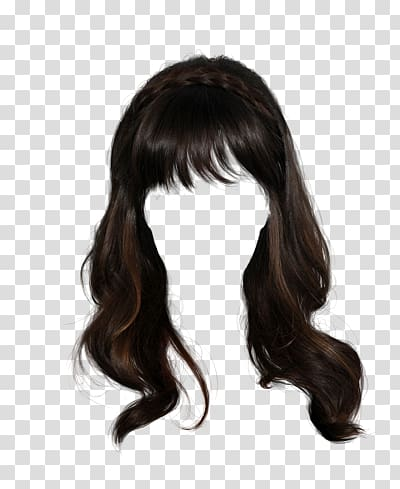 Black wig, Wig Hairstyle Long hair, hair transparent.