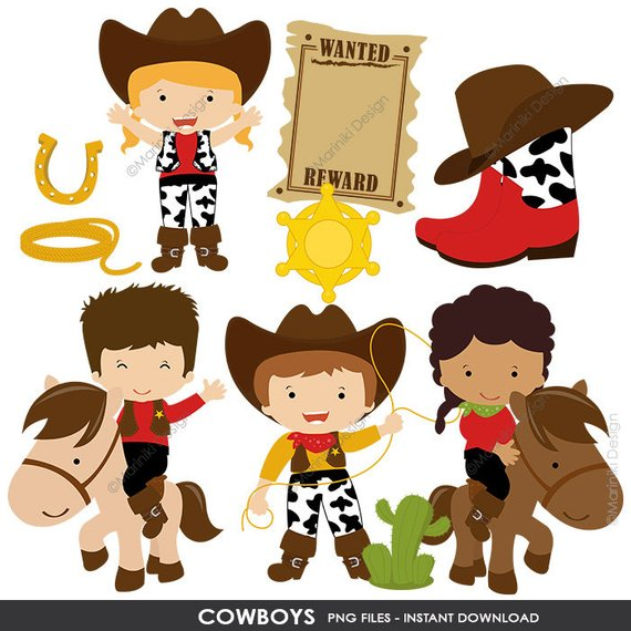 Cowboy Clipart, Cowgirl Clip Art, Wild West, Western Clipart.
