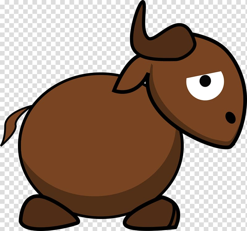 Wildebeest GNU Cartoon , funny transparent background PNG.