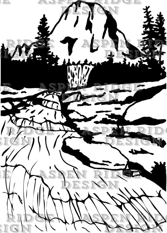 Glacier National Park, Mountain with river clipart.