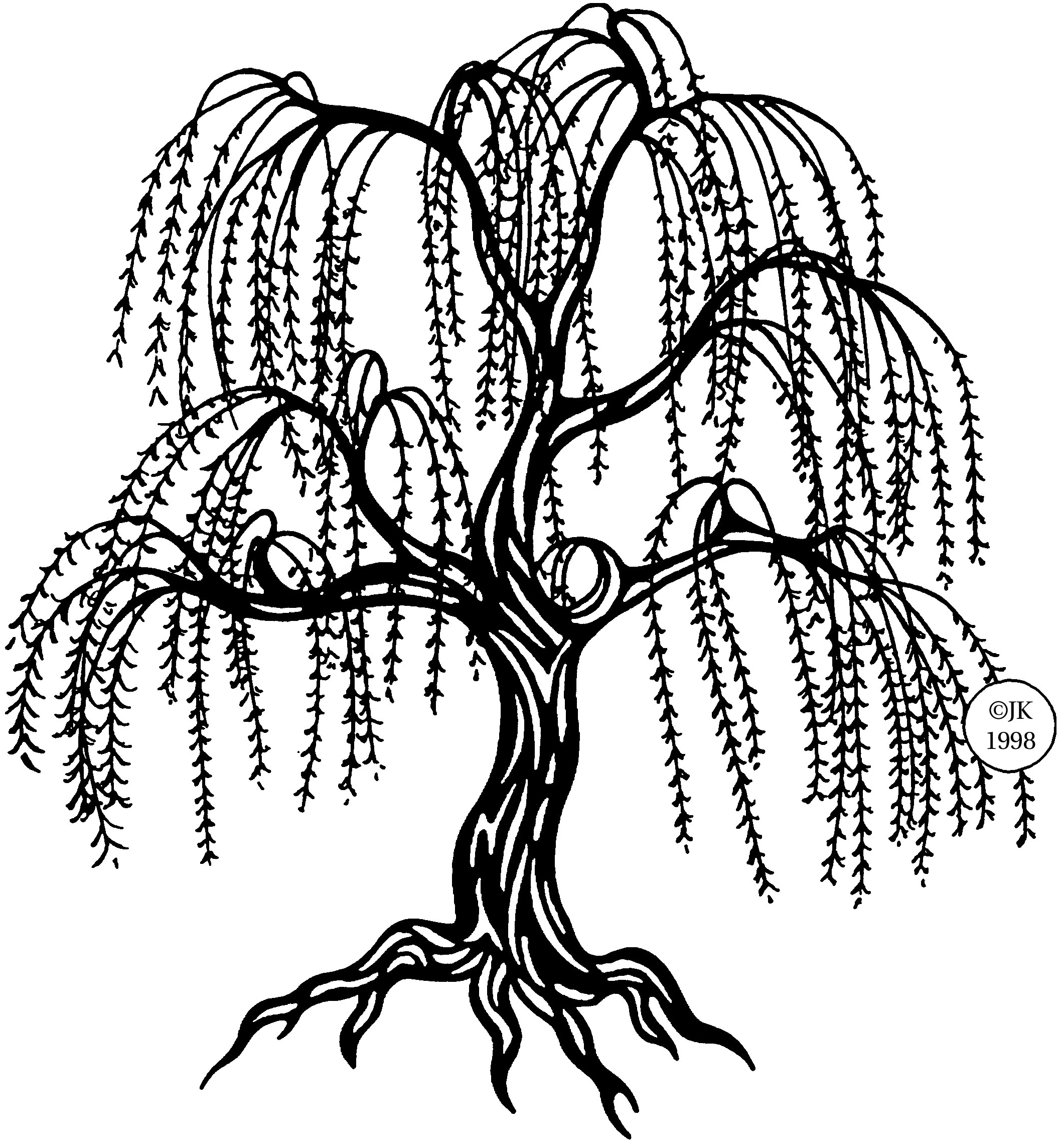 Willow tree with ladder clipart.
