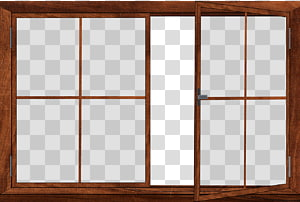 Windows ByunCamis, opened window with brown wooden frame transparent.