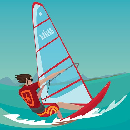 Man IS Engaged IN Windsurfing premium clipart.