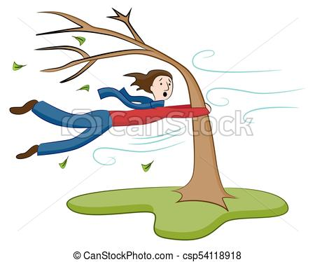 Man Holding On To Tree on Windy Day.