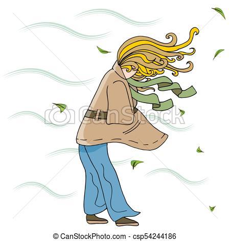 Woman Walking Outside on a Windy Day Cartoon.