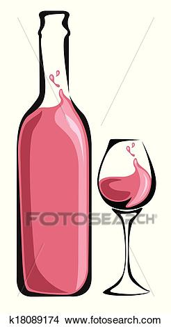 Wine bottle with glass Clipart.