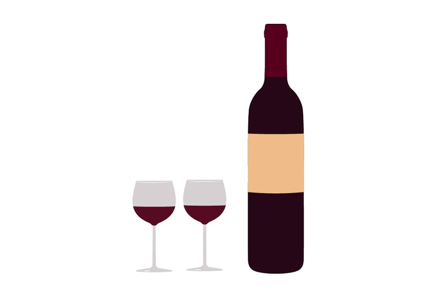 Wine bottle and glasses clip art.