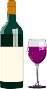 17761 free clipart wine bottle and glass.