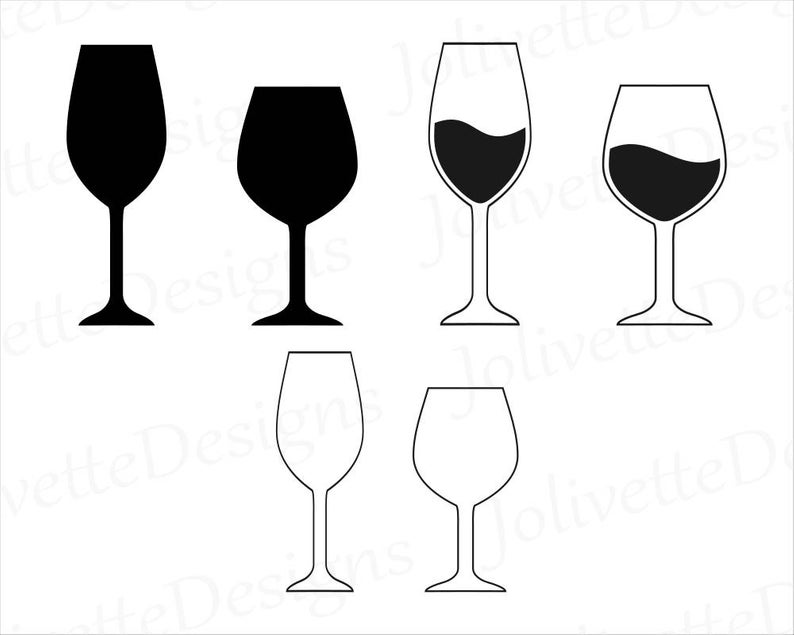 Wine, Wine Glass, Glasses, Clip Art, Clipart, Design, Svg Files, Png Files,  Eps Files, Dxf Files, Pdf Files, Silhouette Files, Cricut, Cut.